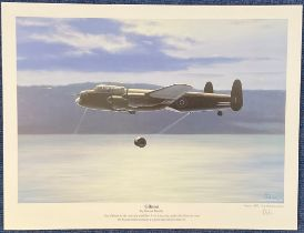 WW2 Artist Robert Tomlin 17x13 colour print Titled Gibson. Print shows Guy Gibson in his specially