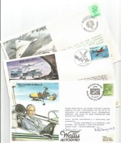 WW2 Collection of 5 RAF Flown covers. 3 Signed. 1x Wg Cdr Ken H Wallis FDCs signed by R H Dingwall