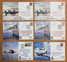 WW2 Collection of 9 RAF Flown covers 6 are signed 3 unsigned. 2x Bristol Blenheim 50th Anniversary