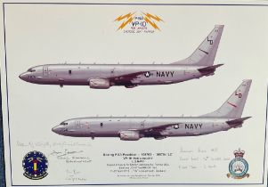 USAF Aviation 12x17 print VP 10 Red Lancers Exercise Joint Warrior signed by four US Navy crew