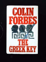 The Greek Key hardback book by Colin Forbes, signed by author, dedicated to Robert Holness.
