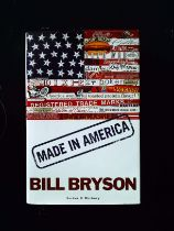 Made In America hardback book by Bill Bryson, signed dedication to Bob Holness. Published 1994
