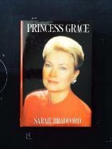 Princess Grace hardback book by Sarah Bradford, signed by author, dedicated to Bob Holness.