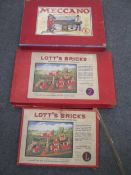 Hornby trains, some boxed, with, a Boxed set of Lott's bricks 1a and 2 and a boxed set of Meccano E,
