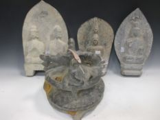 An oriental carved stone vessel and cover decorated with animals and figures 25cm high: and three