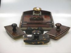 A mahogany desk stand, with blotter