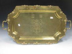 A brass tray, 20th century