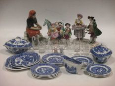 A child's willow pattern part teaset, a German porcelain figure group, small Herend horse, 3 small