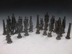 A chess set, the queen 16cm high