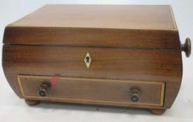 An early Victorian sarcophagus mahogany work box on later bun feet, 35cm wide