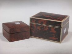 A tortoiseshell box with ivory edge banding, and a small birds eye maple box (2)