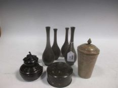 A Japanese bronze box with cover, another box, 4 small baluster shape slender vases, and a soapstone