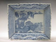 A Chinese export blue and white porcelain dish with shaped border, 31 x 38cm