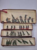 Britains No. 215 French Infantry (18 figures only, some damages); 432 German Infantry, 8 soldiers (