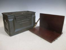 A mahogany reading stand together with an American ammunition box, a Victorian pewter pint tankard