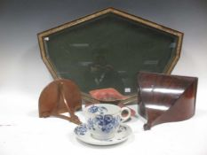 A glazed fan display case, a toleware dish, a m,ahogany wall bracket and another reproduction wall