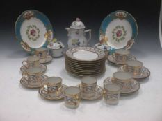 A Herend coffee pot and two sugar bowls and covers; a part Limoge coffee service, six porcelain