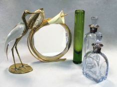 Two cut glass decanters with Danish metalware collars,