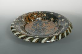 David Frith (British, born 1943) for Brookhouse Pottery, a large and impressive Peacock pattern