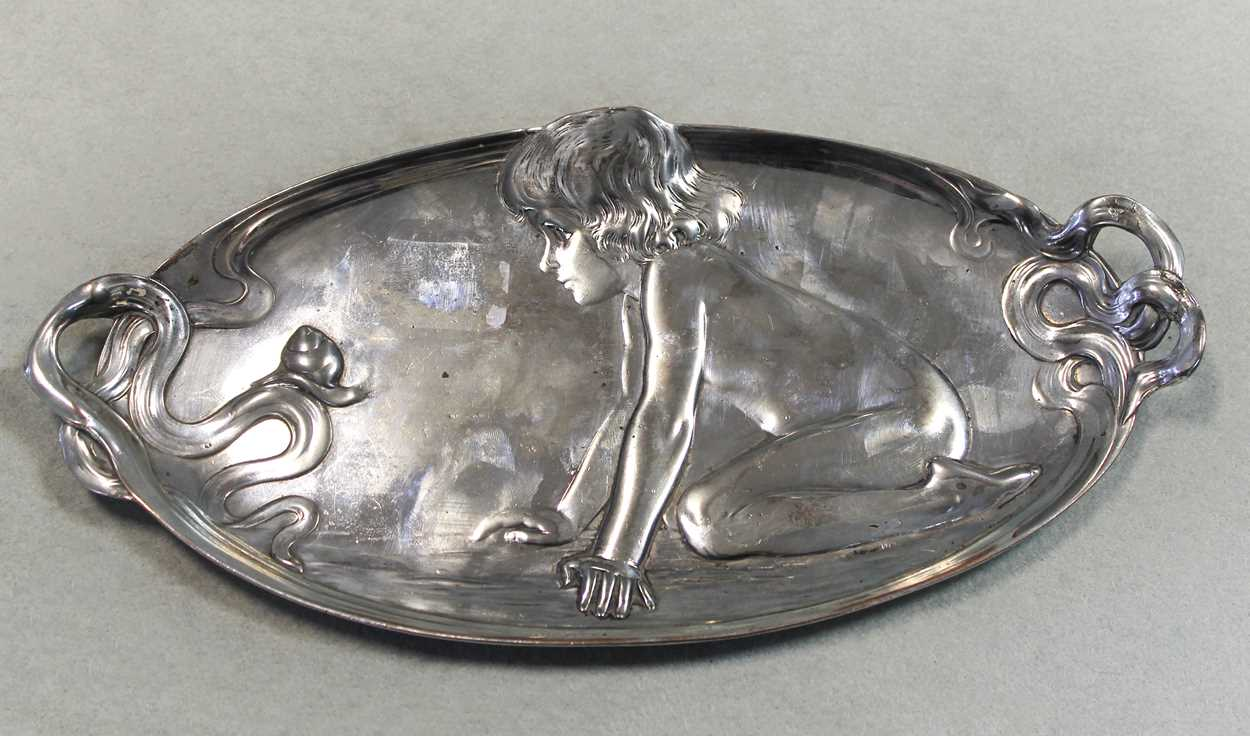 A German metalwares dressing table tray and a pair of bottle coasters all in the Art Nouveau style, - Image 5 of 7