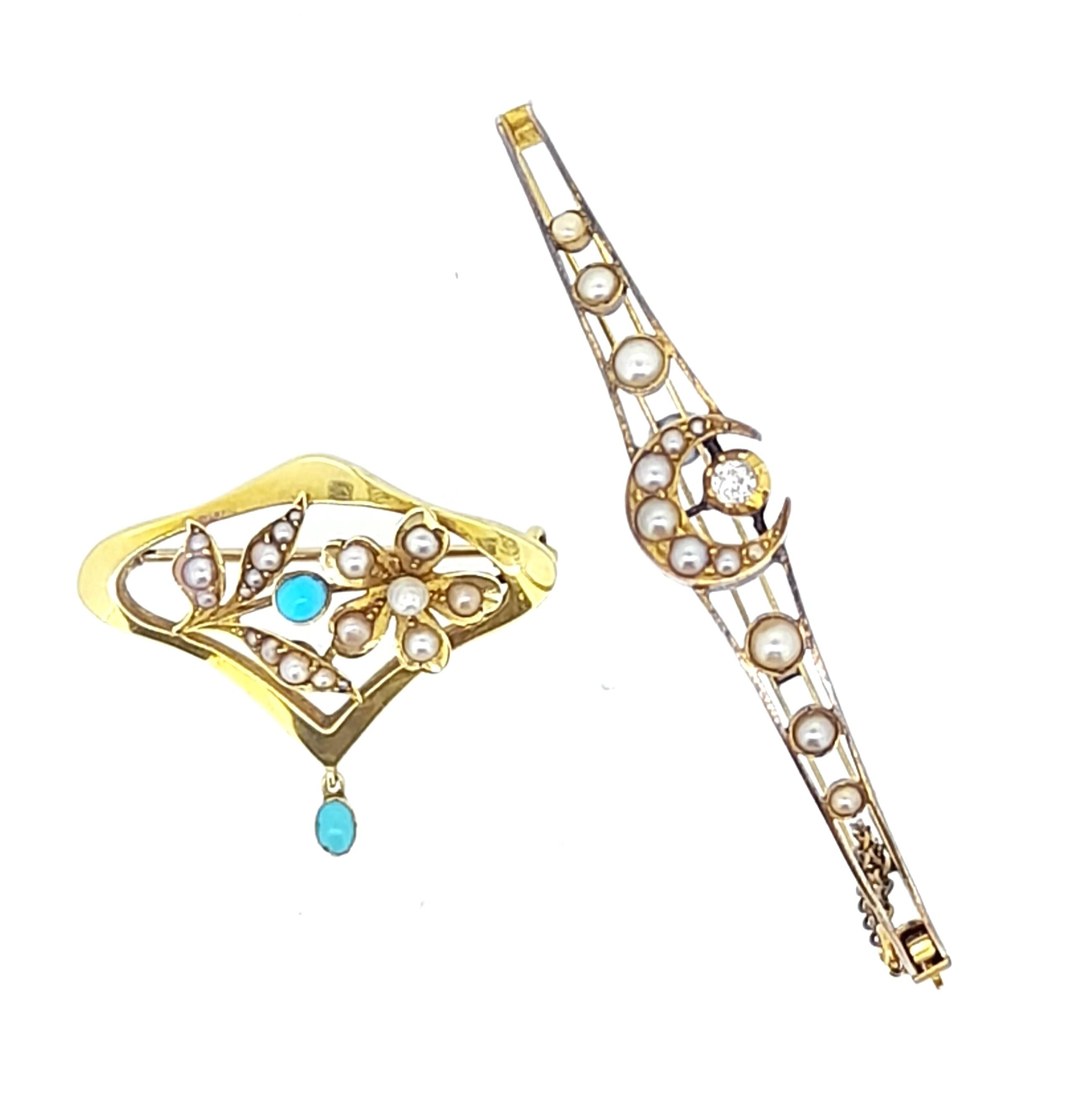 A pearl and diamond crescent bangle and a pearl and turquoise Art Nouveau brooch,