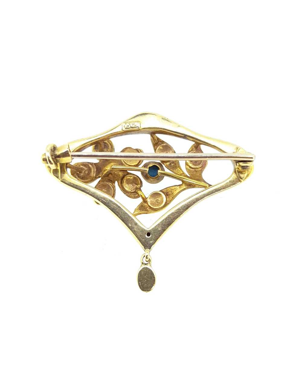 A pearl and diamond crescent bangle and a pearl and turquoise Art Nouveau brooch, - Image 4 of 6