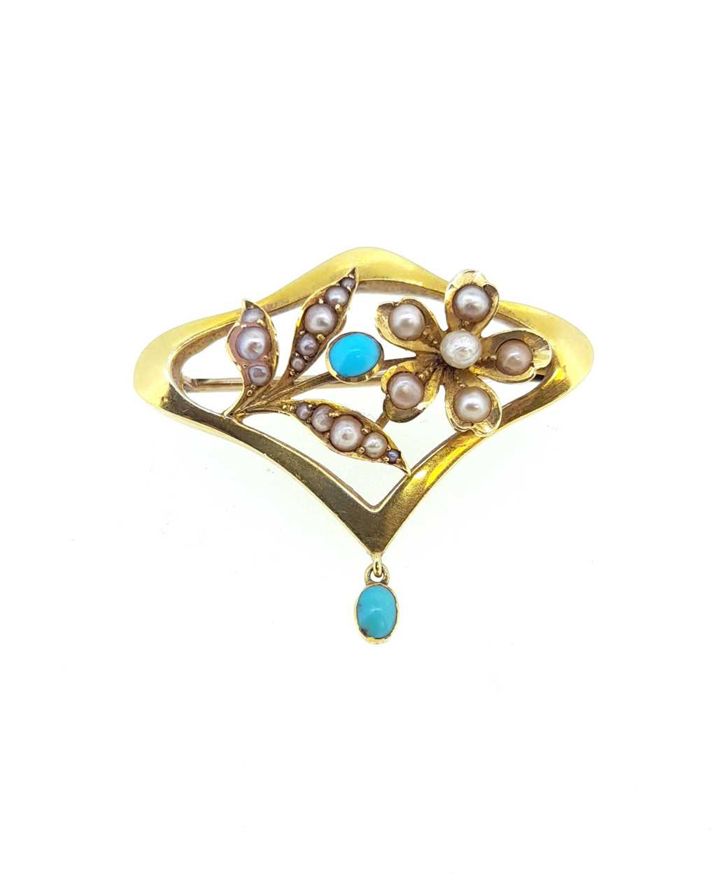 A pearl and diamond crescent bangle and a pearl and turquoise Art Nouveau brooch, - Image 5 of 6
