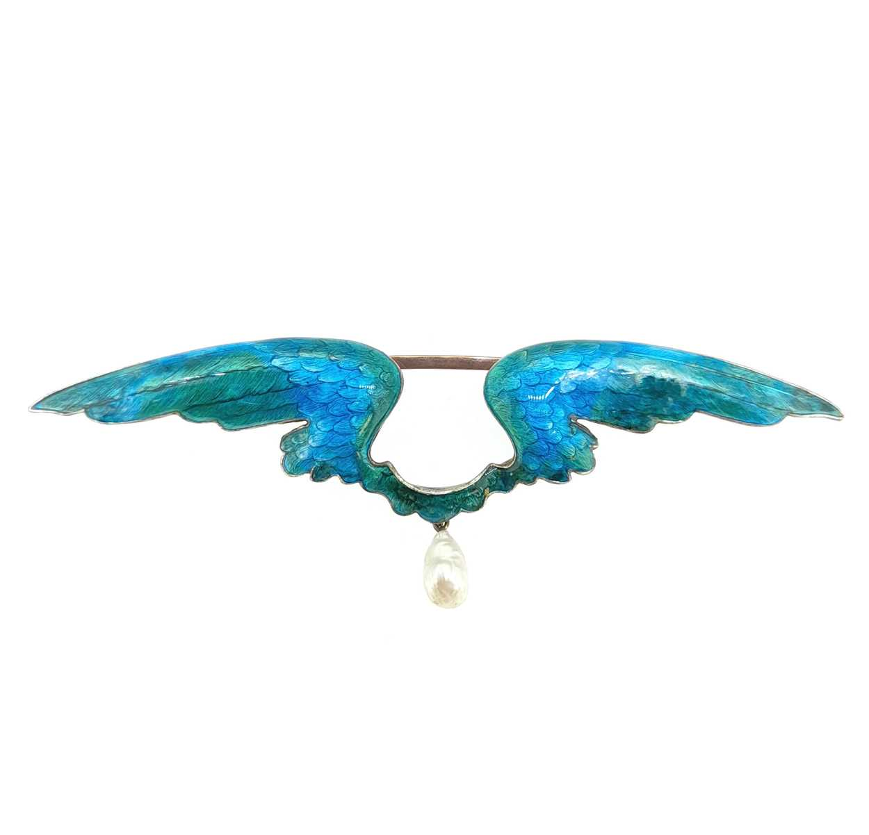 Child & Child - An Art Nouveau pearl and enamel wings brooch, - Image 2 of 4