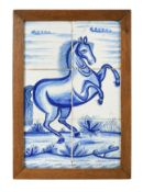 A Delft blue and white panel of six tiles,