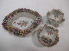 Two Samson armorial scroll salts and a Continental floral dish (3)