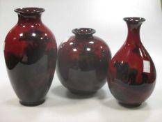 Three Royal Doulton flambe landscape vases