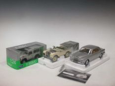 Three boxed model cars to include: Minichamps, Ltd Edition Land Rover, scale 1:18, Welly Land