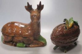 A Michel Caugant tureen, modelled as a deer; a tureen and cover modelled as a cacao (2)