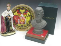 A Royal Doulton bust of Prince Charles, 28cm high, together with a Vienna porcelain figure of Prince