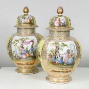 A pair of Dresden vases and covers, 19th / 20th century,