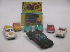 Various loose Corgi models and others, including Batmobile, Saint Volvo, Surfing Mini (boxed), 2