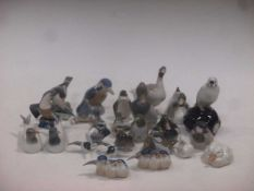 A collection of twenty-five Copenhagen porcelain models of birds
