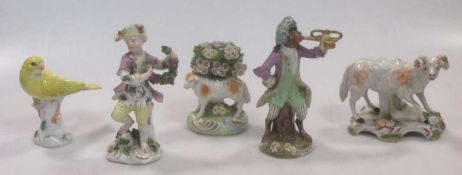 A 19th century Vienna porcelain figure of a monkey playing a trumpet, beehive mark; an 18th