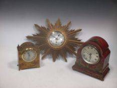 Two Chinoiserie case mantel clocks with replacement battery movements and an Elliott sunburst wall