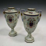 A pair of Samson porcelain armorial vases, 40cm high