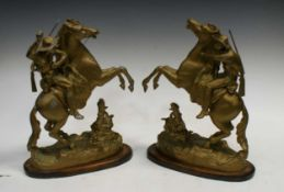 Three pairs of spelter Marly type horses, the tallest pair 42cm high (6)