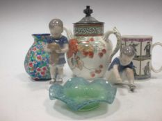A Vasart glass dish, a Longwy floral vase, a Royle Patent self pouring tea pot, two Bing and