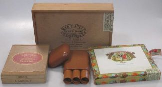 A collection of Cuban cigars in three boxes (part used): Bolivar 5 Tubos No. 2; Romeo Y Julieta 9 (