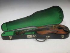 A cased vioiln, stamped 'Hopf', 60cm long