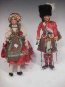 A painted felt head doll of HM The King, Highland uniform, by J.K. Farnell, original white box;