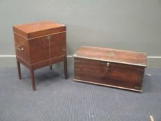 A 20th century Indian hardwood box 29 x 69 x 31cm together with a small 19th century cellarette