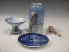 A Royal Copenhagen vase, a Christmas plate for 1974, a model of a ballerina and a tazza (4)