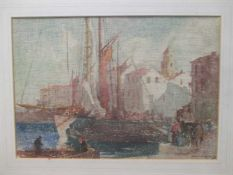 After William Lee Hankey, Boats in port, possibly a print, 24 x 35cm