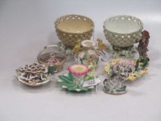 A Berlin porcelain figure,together with various floral encrusted porcelain (mostly damaged)Footnote: