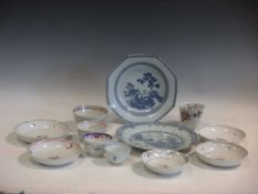 A collection of 18th century Chinese porcelain plates, bowls, wine cup, to include Kangxi imari